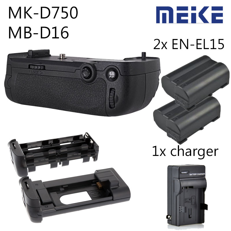 MEIKE MK-D750 Battery Grip Pack Replacement MB-D16 +  EN-EL15 Battery + battery charger for Nikon D750 DSLR Camera meike vertical battery pack grip for nikon d5300 d3300 2 en el14 dual charger