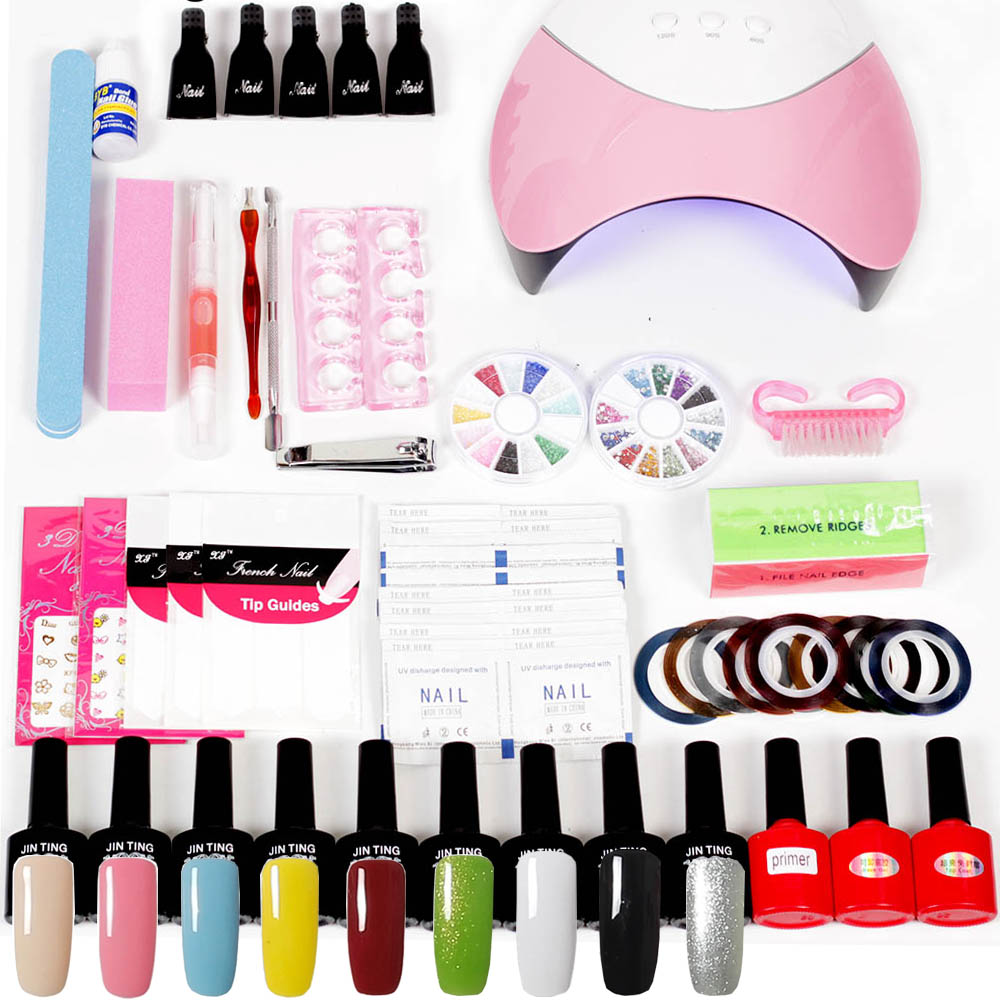 Lamp Dryer for Nails 4 UV Gel Polish Nail Kit False Tip Manicure Nail Extension Nail Tools Kit UV Gel Vanishes Kit