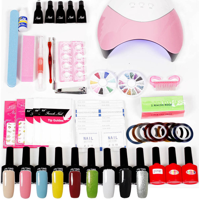 Nail Polish Kit With UV Lamp 36W/48W/24W Nail Dryer Lamp UV Gel Nail ...