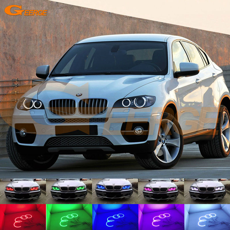 For BMW X6 E71 E72 X6M E70 X5M 2008-2014 Xenon headlight Excellent Multi-Color Ultra bright RGB LED Angel Eyes kit halo ring снегоуборщик patriot phg 72 e 6 5л с [426108495]