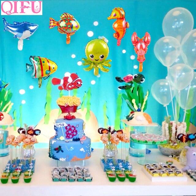 QIFU Sea Animal Foil Balloon Animal Ballons Birthday Party Decor Kids Birthday Under The Sea Party Decor Shark Party Supplies