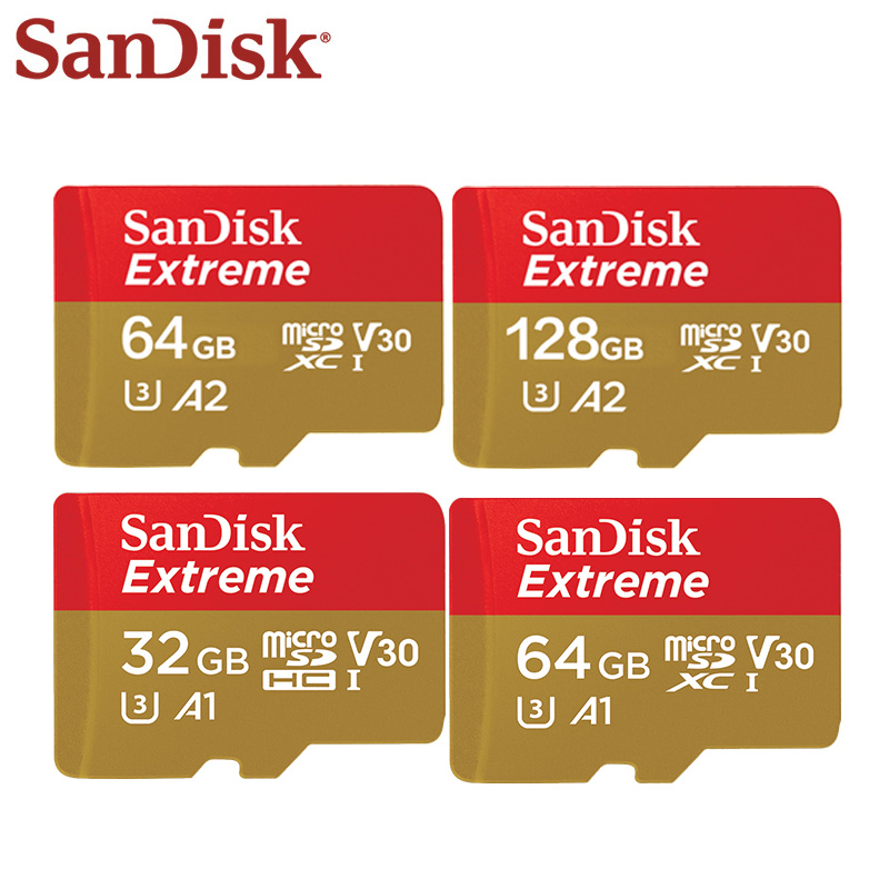 SanDisk Extreme 32GB 64GB A1 TF Card Memory Card High Speed 100MB/S 64GB 128GB A2 V30 Micro SD Card Support Video For Phone vocabulario elemental a1 a2 2cd