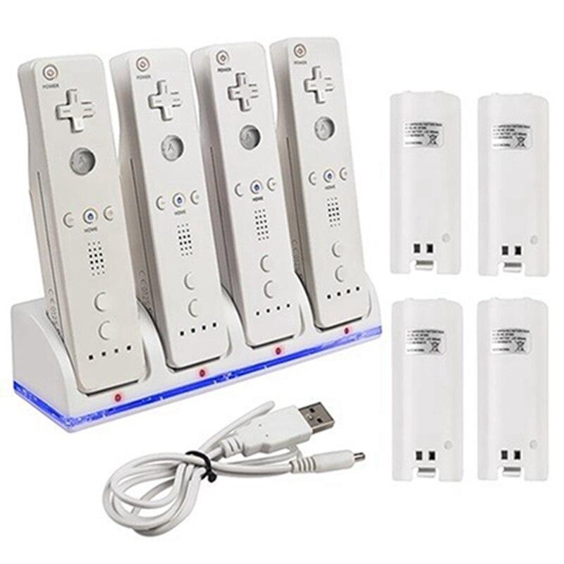 Hot Angebot Ni-HM 4x2800 mAh Rechargeble Akku Plus Ladegerät Dock Station St und Für Wii Controller Gamepad Joystic
