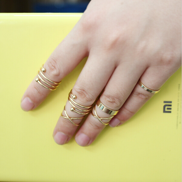 6pcs set sale mini design finger rings set gold color