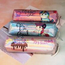 Caja de lápices holográfica láser con manijas de unicornio para niñas estudiantes de alta calidad PU Flamenco Caja de lápices bolsa de papelería de suministro escolar