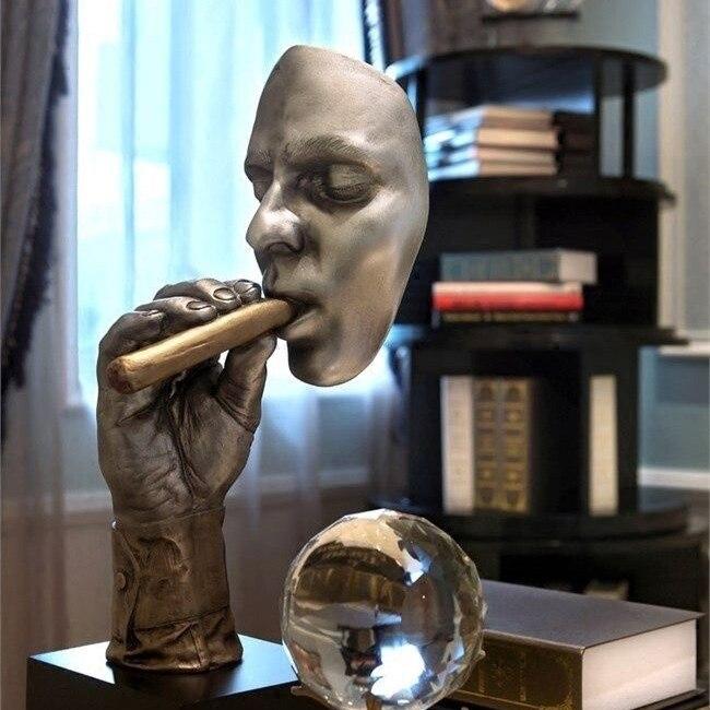 Rétro Méditants Sculpture Abstraite Homme Fumer Cigare Créatif Visage Statue Personnage Figurine En Résine D'art Décorations pour La Maison