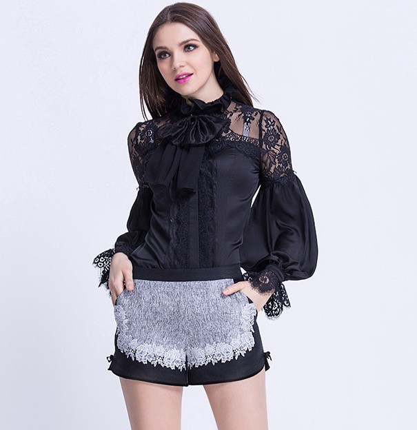 Camisas Encaje Femenina Blusas 2019 Primavera Tops Moda Negro Elegante Mujeres De Blusa Largo Verano Arco Manga Collar UO7wF