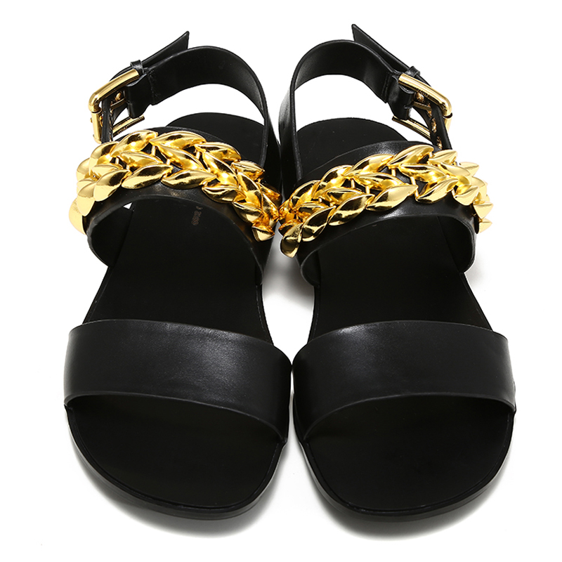 Rome Cut Out Summer Rubber Shoes Buckle Strap Balck Sandals Soft Leather Men Gold Chain Open Toe Youth Flat 2017 Sandals Hombre