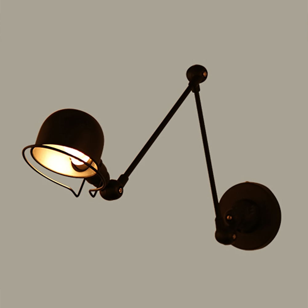 Modern Adjust Angle Arm Metal Wall Lamp Black/White Lampshade Study Room Bedroom Bedside Wall Light Indoor Lighting E14 Fixture modern wall lamp bedside lamps wall light bedroom lighting for home decor 110v 220v e14 holder lightings study room hotel hall