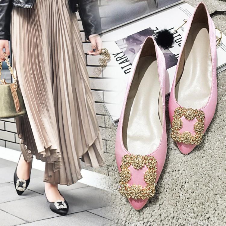 Femme Chaussures Slip Fille Ballet De Doux Rose Mocassins Vert Supérieure Pour En Soie Bout 2019 Femmes gris Blanc Caoutchouc rose Noir vert Pointu Talons Plats Luxe Noir Sur RqwxBUx