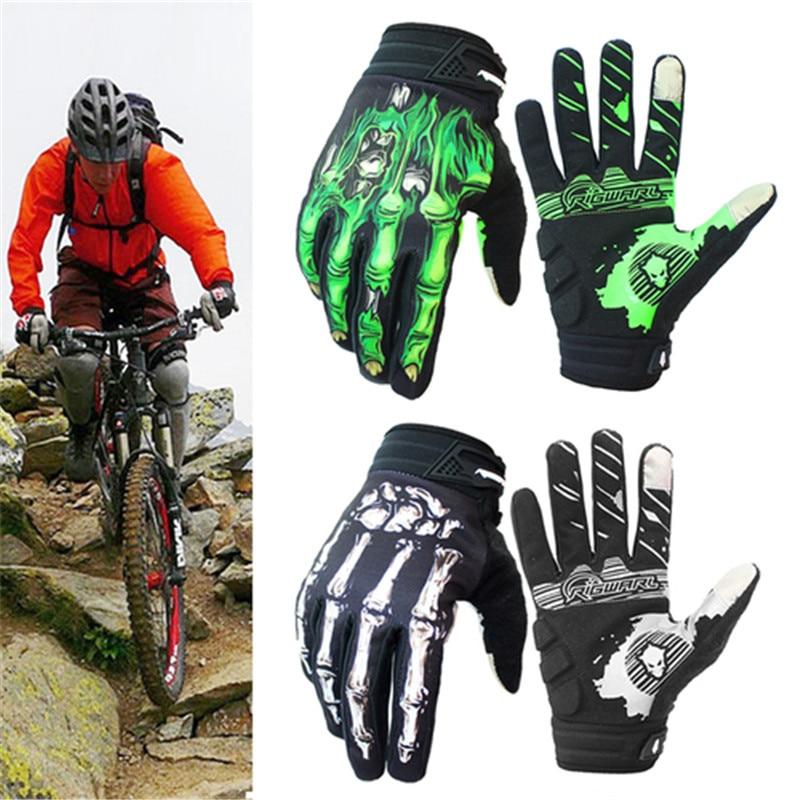 Rigwarl motobike الدراجات قفازات كاملة فنجر العظام تصميم لمس الشاشة هلام هيكل عظمي تنفس قفازات دراجة نارية guantes موتو luvas