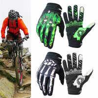 Rigwarl motobike luvas de ciclismo dedo cheio osso design tela toque gel esqueleto respirável luvas moto guantes moto luvas