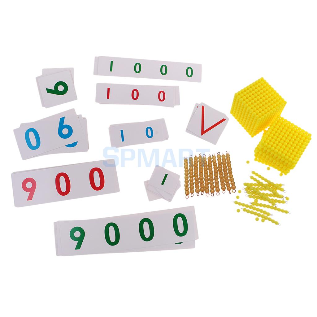 Montessori Early Educational Toy Math Learning Materials Preshcool Teaching Aids Ten Beads Bar + Bank Game Gift