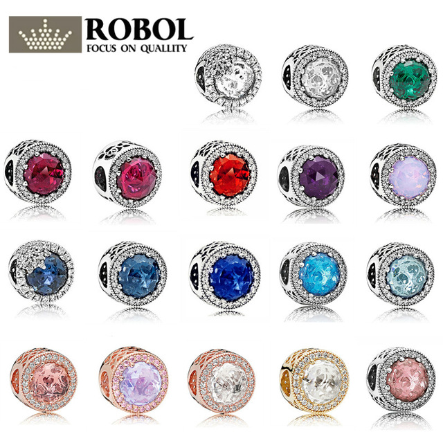 100% 925 Sterling Silber Glas Perlen Multi-farbe Runde Italienischen Zirkon Edelsteine Hohe Qualität 1:1 Kopie Schmuck Für Frauen Charme