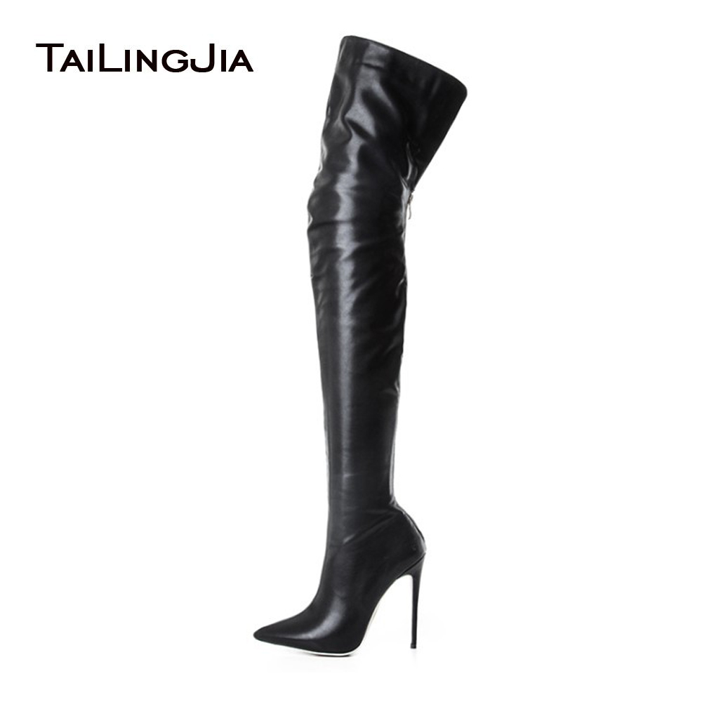 Women Black High Heel Pointed toe Over the Knee High Boots Ladies Thigh High Long Boots Stiletto Heel Large Size Wholesale women over the knee boots black velvet long boots ladies high heel boots sexy winter shoes chunky heel thigh high boots