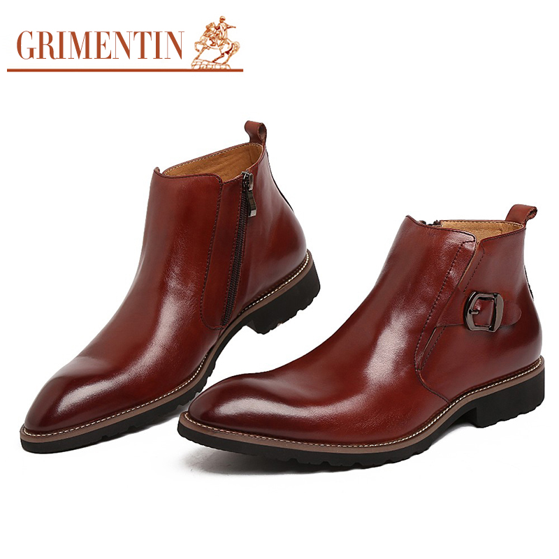 GRIMENTIN Hot Sale Fashion Designer Classic Ankle Male Boots Genuine Leather Luxury Men Business Shoes High Quality Mens Boots