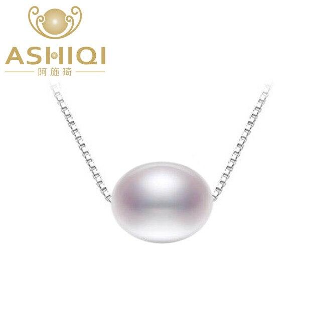 ASHIQI Bất Tự Nhiên Nước Ngọt Ngọc Trai Mặt Dây Chuyền Vòng Cổ Cho Phụ Nữ Với 925 Sterling Silver Chain Đồ Trang Sức