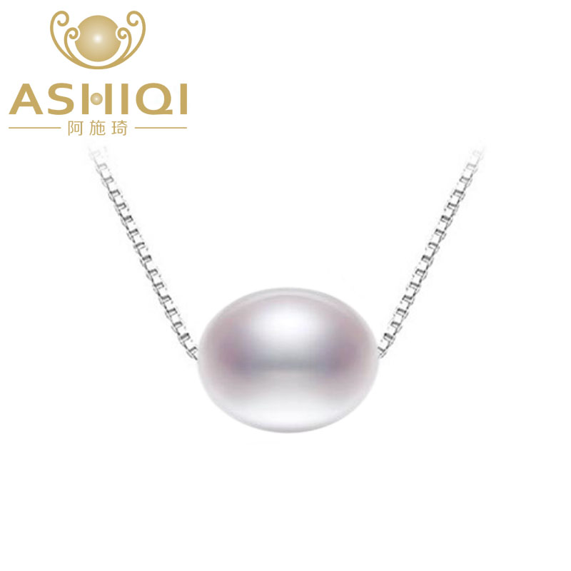 ASHIQI Real Natural Freshwater Pearl Pendant Necklace For Women With 925 Sterling Silver Chain Jewelry