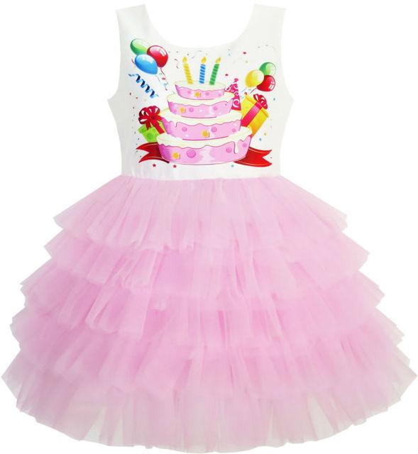 Sunny fashion meninas balão bolo de aniversário vestido de princesa vestido plissado 2017 vestidos de festa de casamento roupas de verão tamanho 3-10
