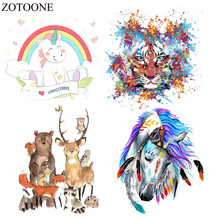 ZOTOONE Horse Patch Heat Transfer Vinyl Fabric Tiger Applique Badge Iron On Cute Unicorn Patches For Kids Clothes Diy E