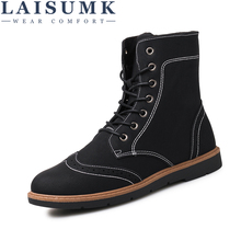 LAISUMK Luxury Mens High Leather Boots New Cool Spring Footwear For Men Comfortable Casual Wearable Fashion Shoes