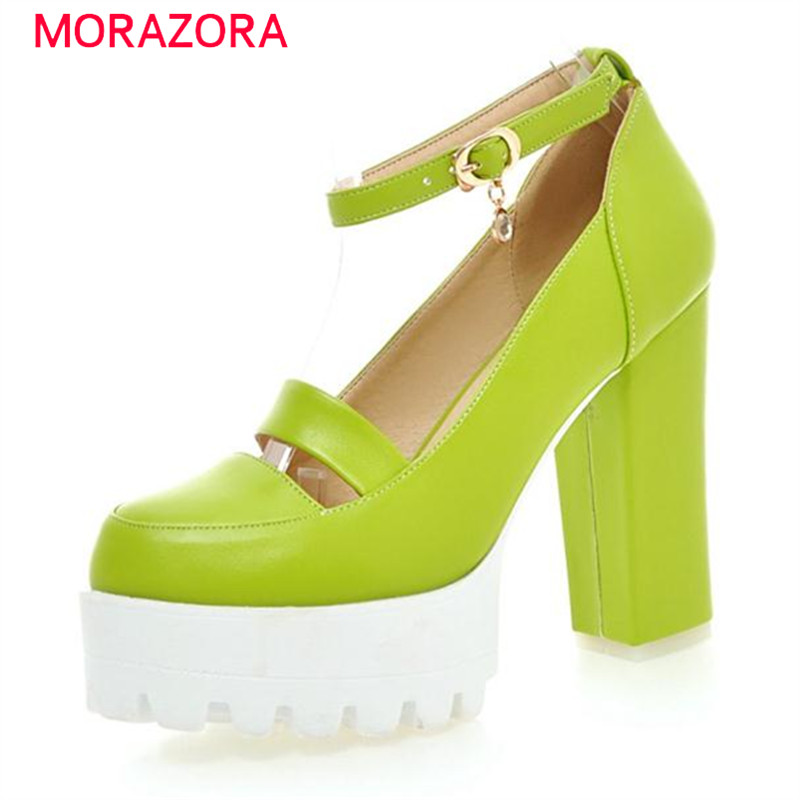 ФОТО MORAZORA Ultra high with shoes wedding party shallow single shoes women pumps solid candy color platform shoes spring