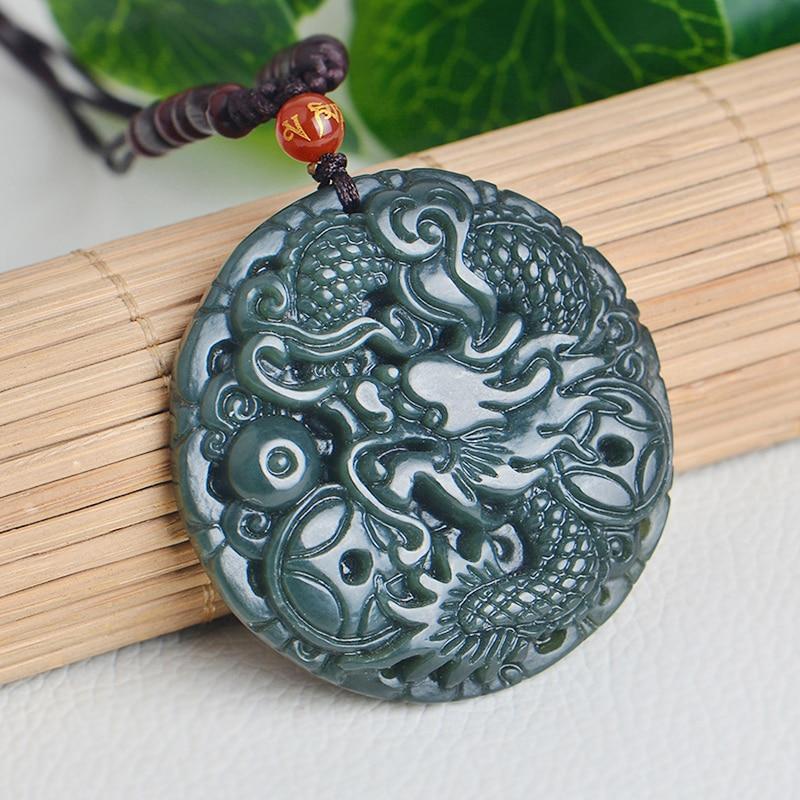 wholesale Certificate hetian jade zodiac dragon phoenix Jewelry necklace pendant gift box