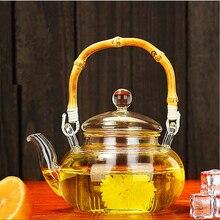 Conveniente Climatizada caliente Drinkware 600 ML Juego de Té De Vidrio Borosilicato Tetera Transparente Oficina Flower Tea Pot