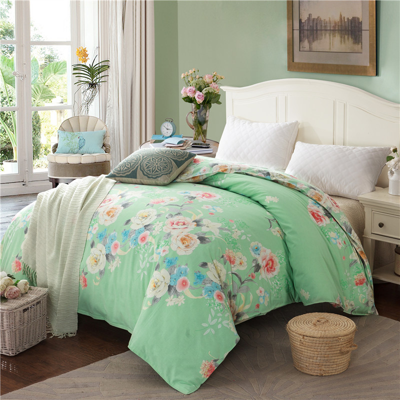 Light Green Print Home Textile Single Duvet Cover No Filling 1Pcs 100% Cotton Thickening Soft Sanding Bed Comforter Cover 3 SizeLight Green Print Home Textile Single Duvet Cover No Filling 1Pcs 100% Cotton Thickening Soft Sanding Bed Comforter Cover 3 Size