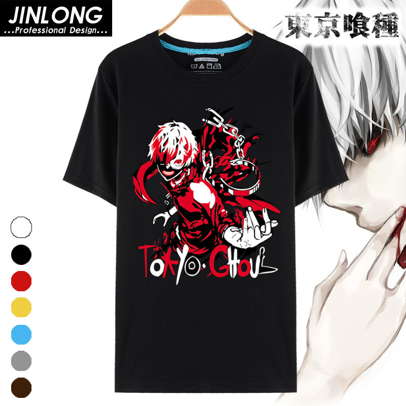 Hot New Costume Tokyo Ghoul T-shirt Japan Anime Printed T-shirts Breathable Milk Fiber T Shirt For Men Women Tees Tops