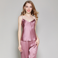 women 100% silk stain sleeveless tops and full length pants two pieces set pajamas sets woman black pink summer home sleepwears