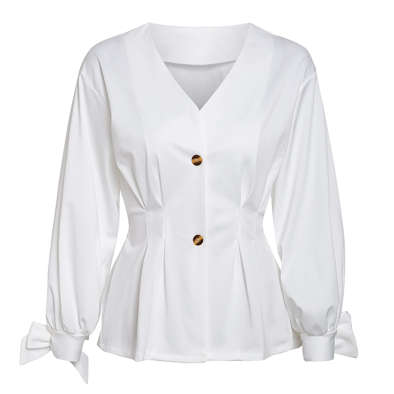 Elegant v neck women blouse shirt Bow tie half sleeve female top shirt Summer casual streetwear ladies white blouse 2019 in Blouses amp Shirts from Women 39 s Clothing