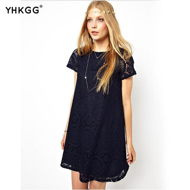 Women's fashion style summer line short sleeved summer dress sexy lace dress short sleeved dress color