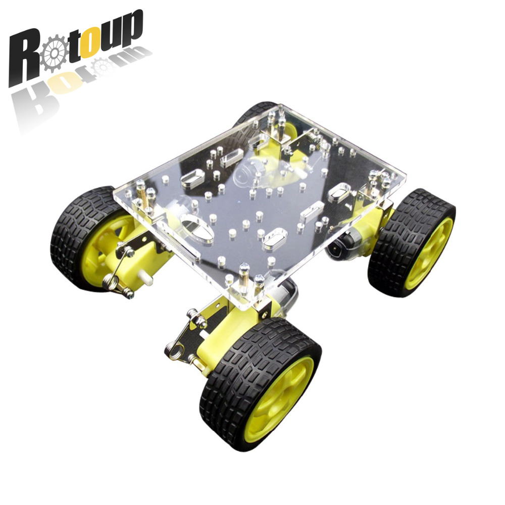 Rotoup 4WD Smart Robot Chassis acrylic Kit Avoidance robot Platform chassis Motor car Wheels Speed Encoder for Arduino #RBP010 2 wheel drive robot chassis kit 1 deck