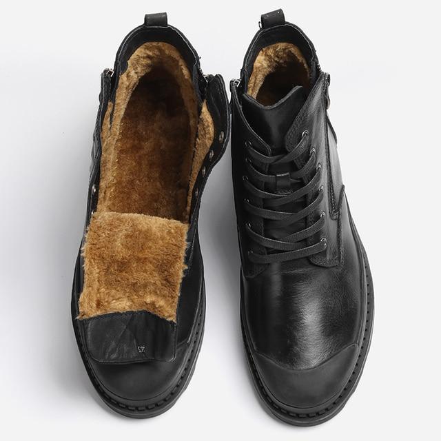 ธรรมชาติวัวหนังผู้ชายรองเท้าบู๊ตหิมะ 2018 Handmade Retro ผู้ชายรองเท้า # CX9550JM