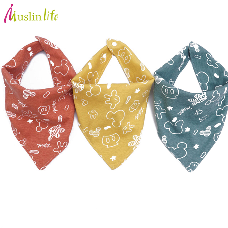 Muslinlife High quality new cotton baby bibs Burp Cloths Fashion Animal Print baby bandana bibs dribble bibs finger print bandana