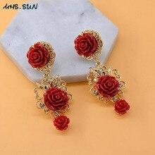 MHS. SUN, женские длинные висячие серьги в стиле барокко, винтажные свисающие серьги с красным цветком, Преувеличенные ювелирные украшения для показа, вечерние