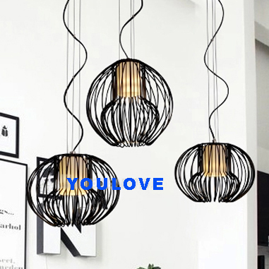 Modern Single Droplights Metal Cage Pendant Lights Fixture Home Indoor Lighting Dining Room Restaurant Bed Room Hanging Lamps aluminium modern hanging lamps nordic white black pendant lights fixture home indoor lighting dining room restaurant droplights
