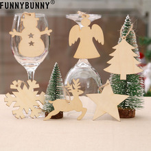 FUNNYBUNNY 10PCS Christmas tree pendant Wood Ornaments Kids Crafts Hanging Xmas Decoration