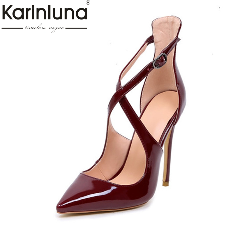 KarinLuna Women's Gladiator Strap Party Wedding Pumps Patent High Heel Pointed Toe Less Platform Shoes Woman Big Size 34-45 pu pointed toe flats with eyelet strap