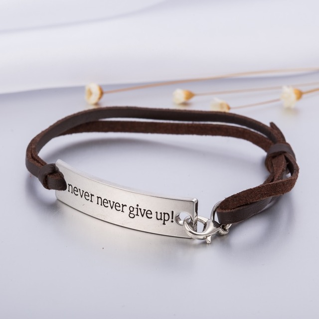 My Shape Leather Viking Bracelet Never Give Up Engraved Inspirational Quote Bangle For Women Graduation Jewelry
