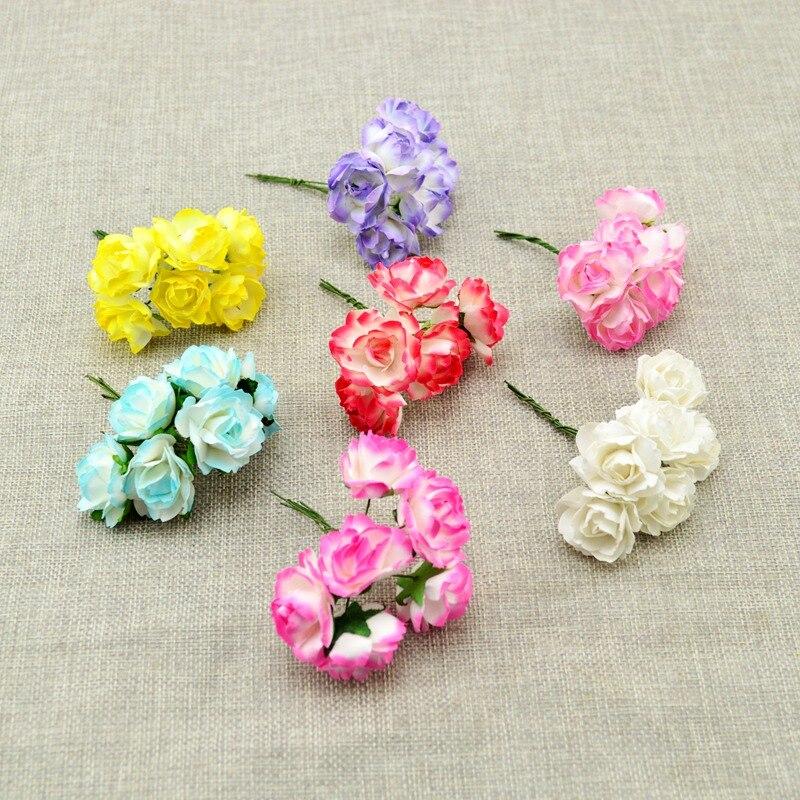 6 шт. дешевый искусственный цветок Бумага градиент розы DIY венки для невесты для свадебного букета конфеты в подарочной коробке украшения Скрапбукинг
