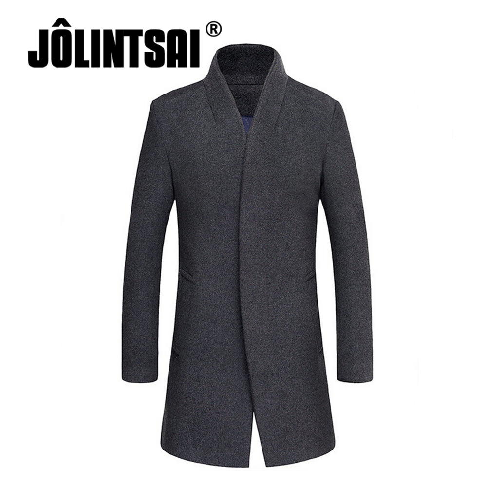 black friday 2017 Wool blends Men Woolen Overcoat With Cotton Inside Keep Warm Stand Collar Men Simple Business Casual Coat 4XL