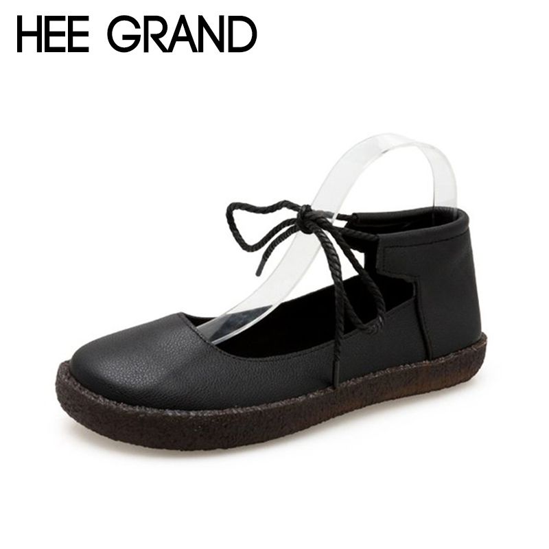 HEE GRAND 2018 New Autumn Girl's Flats Lovely Style Lace-up Women Slip-on Causal Fashion Oxford Soft Leather Mujer Shoes XWD6940 hee grand 2018 new fashion flats shoes women oxfords faux fur pu leather solid mother causal slip on british style shoes xwd6955