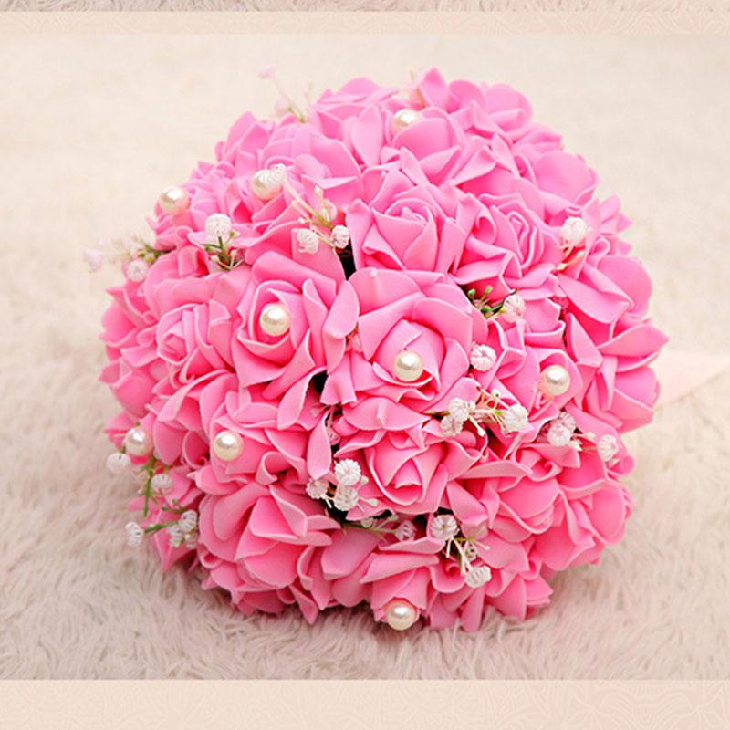 New arrival 1Piece Bridesmaid Wedding Decoration Colorful Foam flowers Rose Bridal bouquet Satin Romantic Wedding bouquet