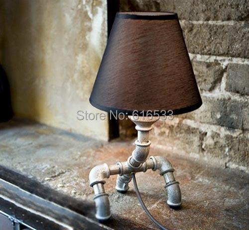 ФОТО Loft Vintage Nostalgic Lustre Water Pipe Led Edison Table Lamp Industrial Bar Coffee Bedside reading Home Decor Lighting Fixture