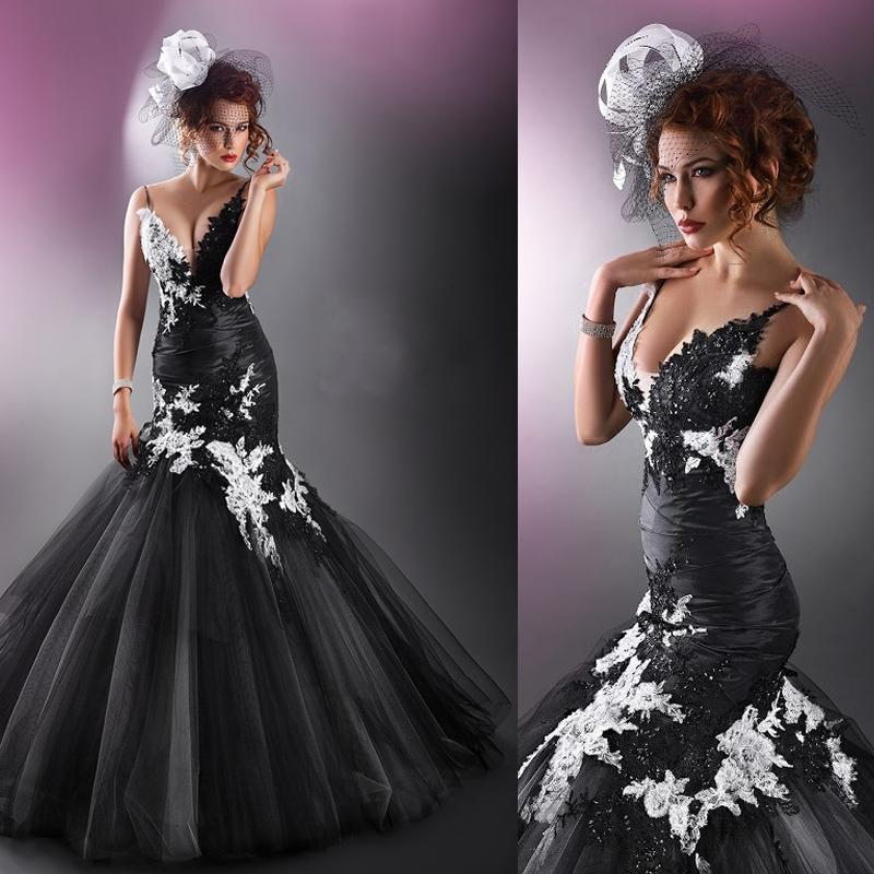 3fe0236d80a4 Cecelle 2019 Custom Gothic Black and White Mermaid Wedding Dresses V Neck  Lace Appliques Vintage Colorful