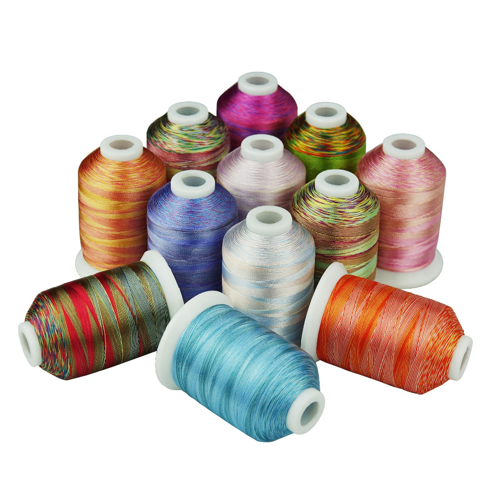 New Arrival SIMTHREAD 120D/2 Variegated Multi-Colors Polyester Embroidery Home Machine Thread