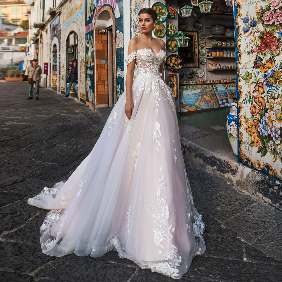 Illusion Wedding Dresses 2019 Tulle With Lace Appliques Sexy Off The Shoulder A-line Summer Wedding Dress Vestido De Noiva