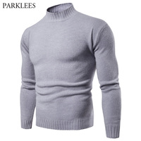 Men's Solid Color Slim Turtleneck Sweater Pullover 2018 Spring Autumn New Knitted Sweaters Pullovers for Men Casual Pull Homme
